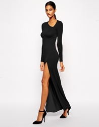 Asos Asymmetric Neck Sexy Maxi Dress Black