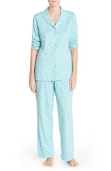 Eileen West 'Harvest' Long Sleeve Cotton Pajamas Teal With Winter White Daisy