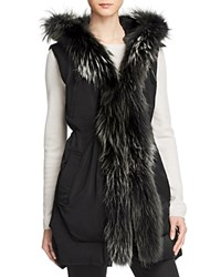 Derek Lam 10 Crosby Fur Trim Vest Black