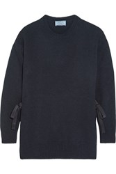 Prada Bow Embellished Wool And Cashmere Blend Sweater Navy