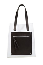 L.A.M.B. Frankie Leather Contrast Tote