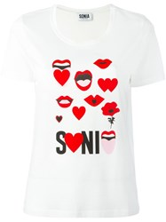 Sonia Rykiel By Lips Print T Shirt White
