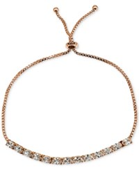 Giani Bernini Cubic Zirconia Oval Adjustable Slider Bracelet In 18K Rose Gold Plated Sterling Silver Only At Macy's