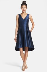 Women's Alfred Sung Satin High Low Fit And Flare Dress Midnight