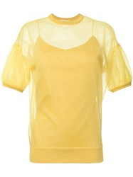 Le Ciel Bleu Semi Sheer Balloon Sleeve Blouse Yellow And Orange