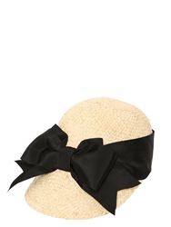 Patrizia Fabri Straw Cap With Grosgrain Bow Natural Black