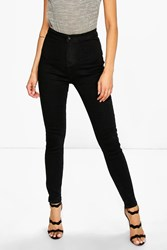 Boohoo High Rise Tube Jeans Black