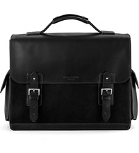 Aspinal Of London Shadow Leather And Nubuck Briefcase Black
