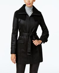 Kenneth Cole Faux Shearling Trench Coat Black