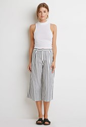 Forever 21 Contemporary Striped Linen Blend Culottes White Navy