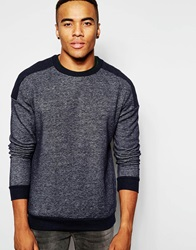 New Look Quilted Sweatshirt With Patch Detail Navy