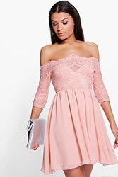 Boohoo Ria Embroidered Mesh Skater Dress Blush