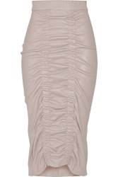 Zero Mariacornejo Gemma Ruched Stretch Leather Midi Skirt Gray