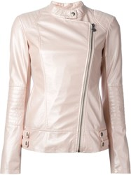 Twin Set Buckle Detail Biker Jackets Pink And Purple