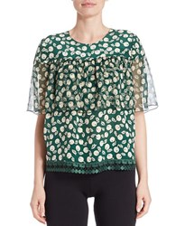 Anna Sui Crocheted Trim Cherry Print Blouse Palm Multi