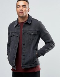 Asos Skinny Fit Denim Jacket With Cord Collar In Black Black