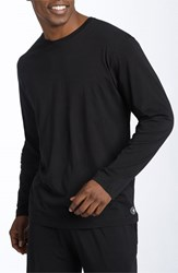 Men's Daniel Buchler Peruvian Pima Cotton Long Sleeve Crewneck T Shirt Black