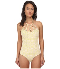 Tori Praver Magnolia Smocked Mutli Hoop Full Piece India Lime Women's Swimsuits One Piece Yellow