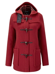 Gloverall Mid Length Slim Duffle Coat Red