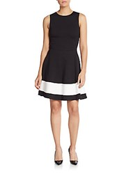 Saks Fifth Avenue Red Block Stripe Knit Fit And Flare Dress