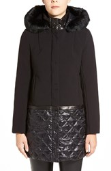 Elie Tahari 'Sandra' Hooded Mixed Media Coat With Genuine Rabbit Fur And Leather Trim Black