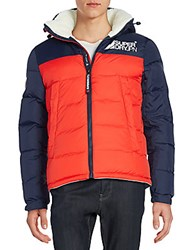 Superdry Mountain Mark Sherpa Jacket Red White