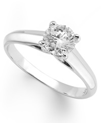 X3 Certified Diamond Solitaire Ring In 18K White Gold 1 2 Ct. T.W.