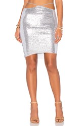 Indah Bridgette Sequined Mini Skirt Metallic Silver