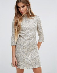Fashion Union High Neck Skater Dress In Metallic Lace Cream