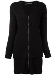 Transit Zipped Layered Cardigan Black