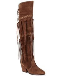 Dolce By Mojo Moxy Toreador Over The Knee Fringe Boots Women's Shoes Espresso