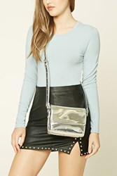 Forever 21 Metallic Faux Leather Crossbody Silver