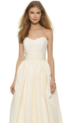 Marchesa Beaded Lace Strapless Bustier Ivory