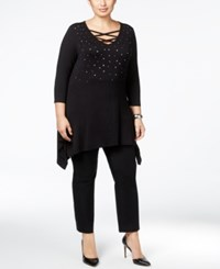 Belldini Plus Size Studded Laced Up Tunic Top Black