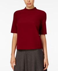 Kensie Short Sleeve Mock Turtleneck Top Wine