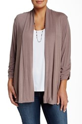Bobeau 3 4 Sleeve Cardigan Plus Size Brown