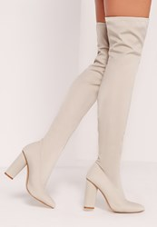 Missguided Pointed Toe Neoprene Over The Knee Boot Cream Cream