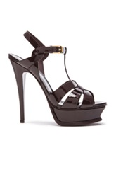 Saint Laurent Tribute Patent Leather Platform Sandals In Purple