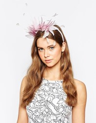 Elegance Feather And Floral Headband Lilac Purple