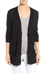 Halogenr Petite Women's Halogen Lightweight V Neck Cardigan Black