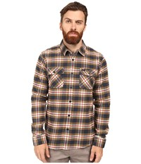 Rvca That'll Work Flannel Long Sleeve Bark Men's Clothing Brown