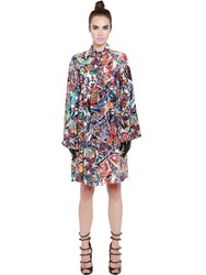 Neon Printed Silk Crepe Shirt Dress