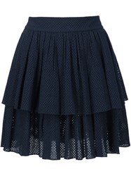 Sophie Theallet Shirred Eyelet Layered Skirt Blue