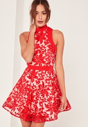 Missguided Red Lace Choker Strap Skater Dress