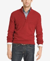 Izod Men's Dual Texture Quarter Zip Sweater Saltwater Red