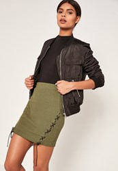 Missguided Khaki Ribbed Lace Up Side Mini Skirt