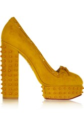 Charlotte Olympia Ready Steady Embellished Suede Pumps Yellow