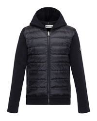 Moncler Maglia Knit Hooded Zip Cardigan W Down Front And Flag Detailed Sleeves Navy
