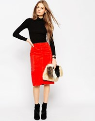 Asos Suede Pencil Skirt With Leather Pockets Orange