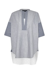 French Connection Ellis Mix 3 4 Sleeve Tunic Shirt Navy And White